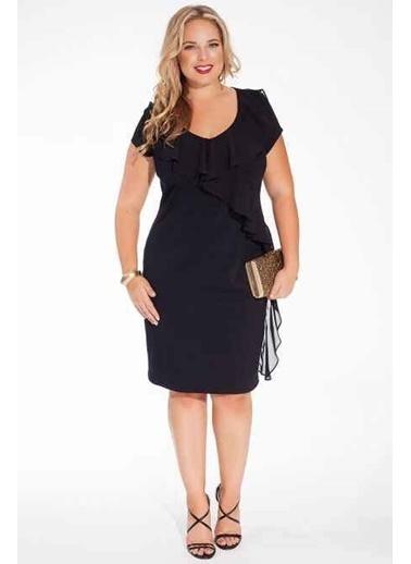 Angelino Butik MD7898 Fırfırlı Abiye Elbise Şifon Siyah